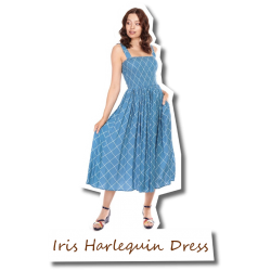 Iris Harlequin Dress blue