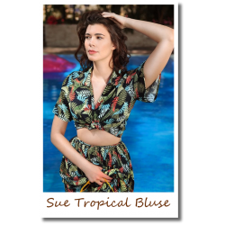 Sue Tropical Palm Bluse