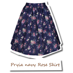 Pryia navy Rose Skirt