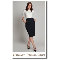 Helenor Pencil Skirt Navy