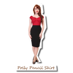 Polly Plain Pencil Skirt Black