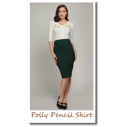 Polly Plain Pencil Skirt Green