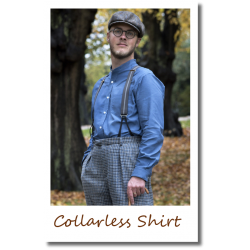 Collarless Shirt Mid Blue