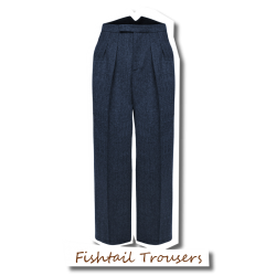 Fishtail Back Trousers Blue