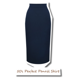 50s Perfect Pencil Skirt Navy