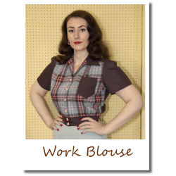 Pink and Brown Work Blouse