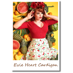 Evie Heart Cardigan Red